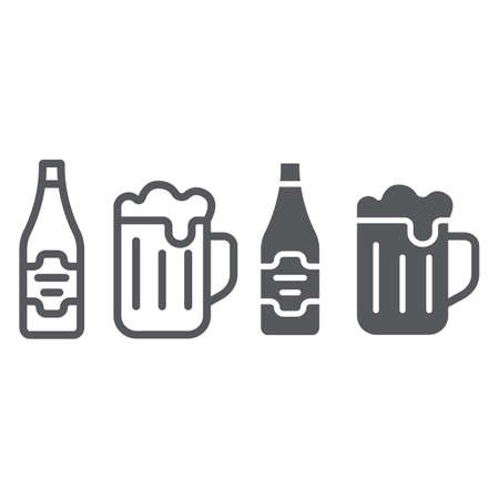 Beer line and glyph icon, bar and alcohol, glass and bottle sign, vector graphics, a linear pattern on a white background. Ilustrace