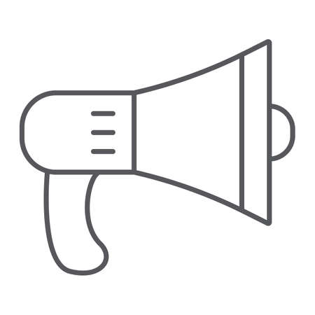 Speaker thin line icon, loud and announcement, megaphone sign, vector graphics, a linear pattern on a white background.