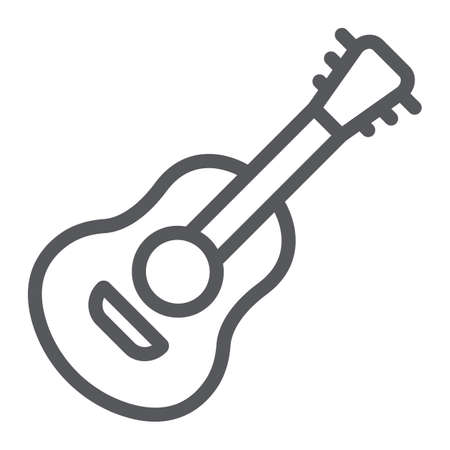 Guitar line icon, sound and music, musical instrument sign, vector graphics, a linear pattern on a white background.