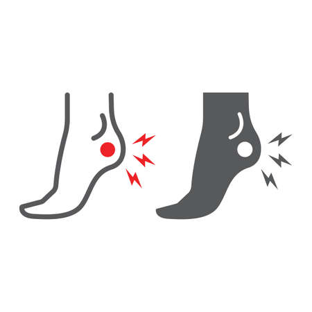 Heel pain line and glyph icon, body and painful, foot ache sign, vector graphics, a linear pattern on a white background. Ilustrace