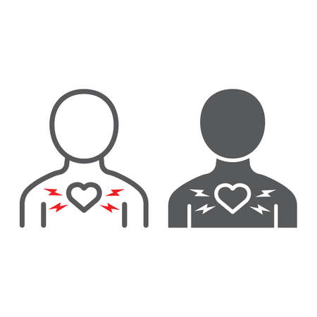 Heart ache line and glyph icon, body and pain, heart attack sign, vector graphics, a linear pattern on a white background.
