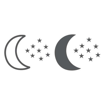 Moon and stars line and glyph icon, night and forecast, night sky sign, vector graphics, a linear pattern on a white background. Ilustrace