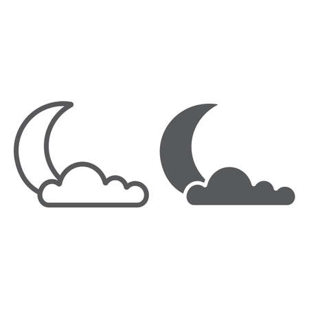 Night line and glyph icon, weather and climate, moon and cloud sign, vector graphics, a linear pattern on a white background.