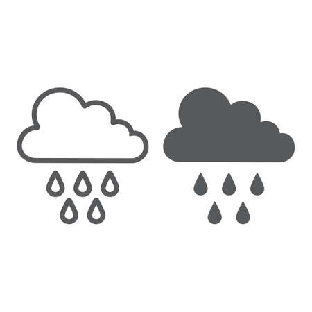 Rain line and glyph icon, weather and climate, cloud with rain sign, vector graphics, a linear pattern on a white background. Ilustrace