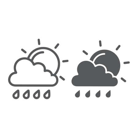 Sun and rain line and glyph icon, weather and forecast, cloud and sun sign, vector graphics, a linear pattern on a white background. Ilustrace