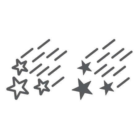 Falling stars line and glyph icon, night and forecast, shooting stars sign, vector graphics, a linear pattern on a white background.