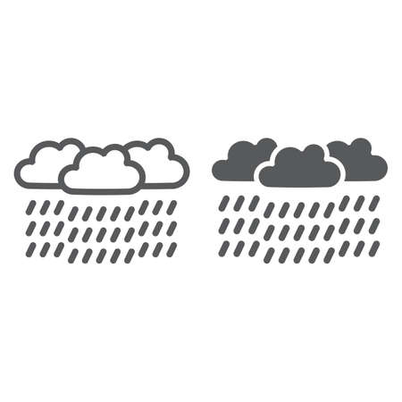 Heavy rain line and glyph icon, weather and meteorology, raincloud sign, vector graphics, a linear pattern on a white background. Ilustrace