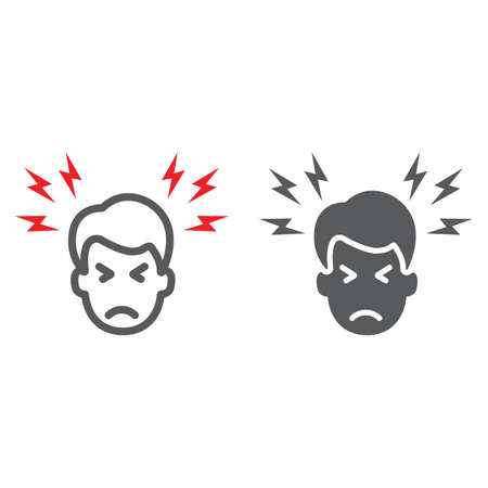 Headache line and glyph icon, body and pain, head pain sign, vector graphics, a linear pattern on a white background.