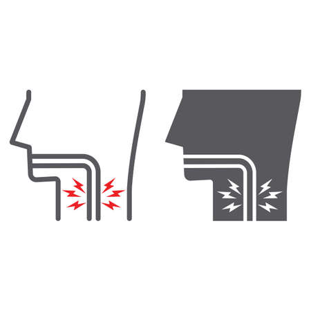 Sore throat line and glyph icon, body and pain, inflammation sign, vector graphics, a linear pattern on a white background.