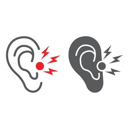 Ear pain line and glyph icon, body and painful, ear ache sign, vector graphics, a linear pattern on a white background.