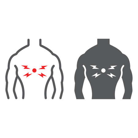 Back pain line and glyph icon, body and pain, back injure sign, vector graphics, a linear pattern on a white background.