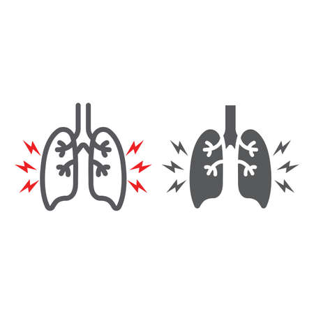 Lungs pain line and glyph icon, body and painful, lungs ache sign, vector graphics, a linear pattern on a white background.