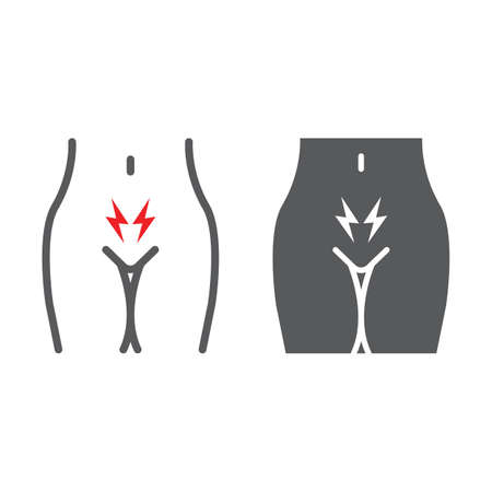 Menstrual cramps pain line and glyph icon, body and ache, abdominal ache sign, vector graphics, a linear pattern on a white background.