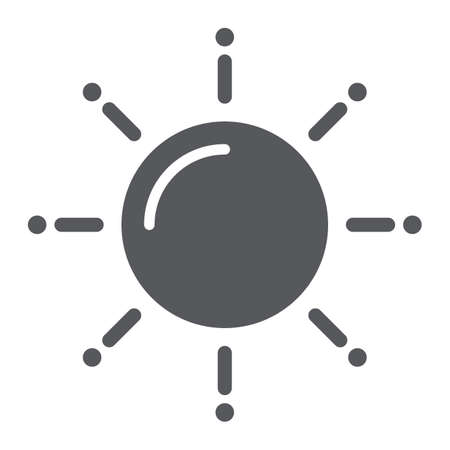 Sun glyph icon, weather and climate, sunny sign, vector graphics, a solid pattern on a white background.