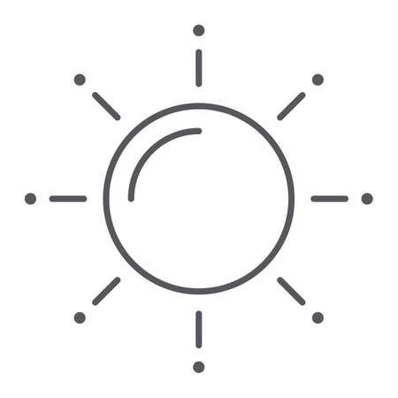 Sun thin line icon, weather and climate, sunny sign, vector graphics, a linear pattern on a white background.