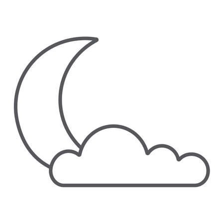 Night thin line icon, weather and climate, moon and cloud sign, vector graphics, a linear pattern on a white background.