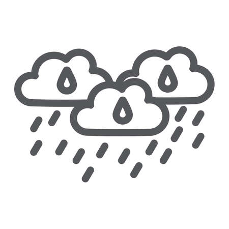 Rain clouds line icon, weather and forecast, rainy day sign, vector graphics, a linear pattern on a white background.