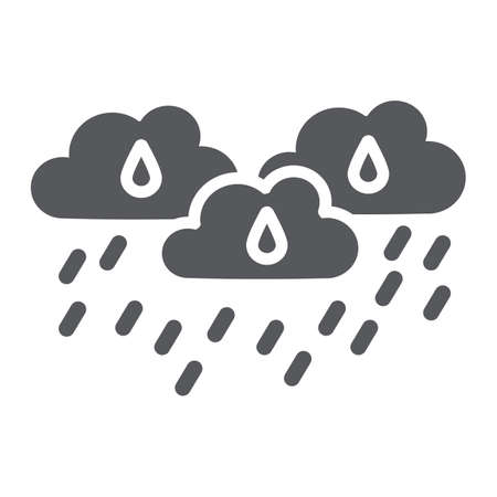Rain clouds glyph icon, weather and forecast, rainy day sign, vector graphics, a solid pattern on a white background.