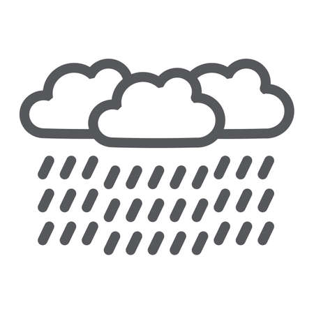 Heavy rain line icon, weather and meteorology, raincloud sign, vector graphics, a linear pattern on a white background. Ilustrace