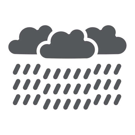 Heavy rain glyph icon, weather and meteorology, raincloud sign, vector graphics, a solid pattern on a white background.