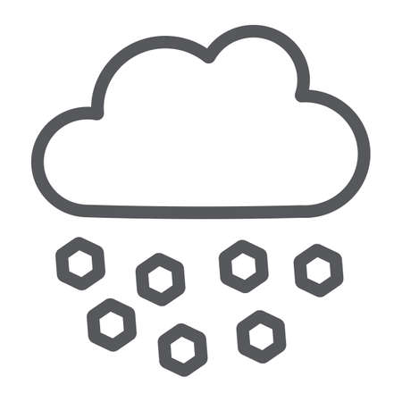 Hail line icon, weather and meteorology, cloud sign, vector graphics, a linear pattern on a white background. Ilustrace