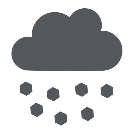 Hail glyph icon, weather and meteorology, cloud sign, vector graphics, a solid pattern on a white background. Ilustrace