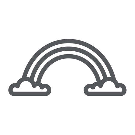 Rainbow line icon, weather and climate, rainbow on clouds sign, vector graphics, a linear pattern on a white background.