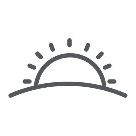 Sunset line icon, weather and sun, sunrise sign, vector graphics, a linear pattern on a white background.