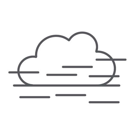 Fog thin line icon, weather and forecast, humidity sign, vector graphics, a linear pattern on a white background.