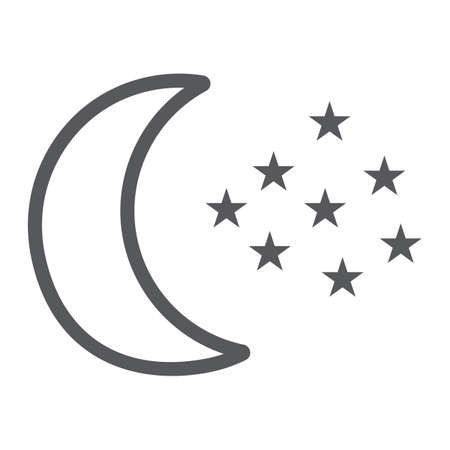 Moon and stars line icon, night and forecast, night sky sign, vector graphics, a linear pattern on a white background.