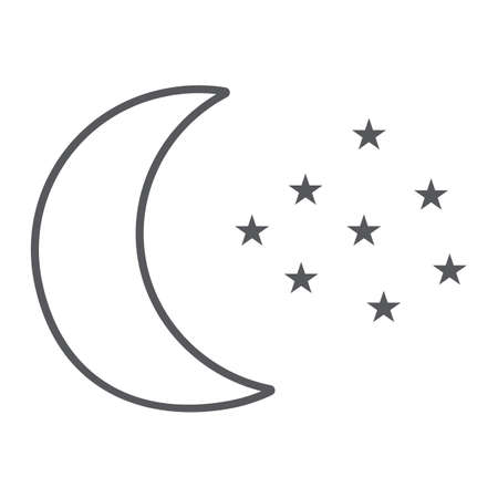 Moon and stars thin line icon, night and forecast, night sky sign, vector graphics, a linear pattern on a white background. Ilustrace