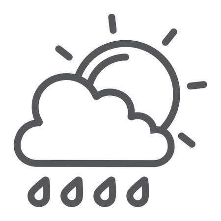 Sun and rain line icon, weather and forecast, cloud and sun sign, vector graphics, a linear pattern on a white background.