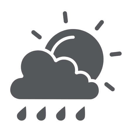 Sun and rain glyph icon, weather and forecast, cloud and sun sign, vector graphics, a solid pattern on a white background. Ilustrace
