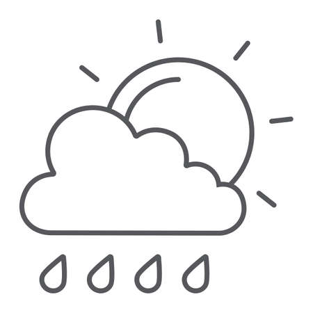 Sun and rain thin line icon, weather and forecast, cloud and sun sign, vector graphics, a linear pattern on a white background.
