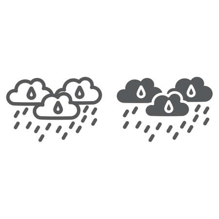 Rain clouds line and glyph icon, weather and forecast, rainy day sign, vector graphics, a linear pattern on a white background.