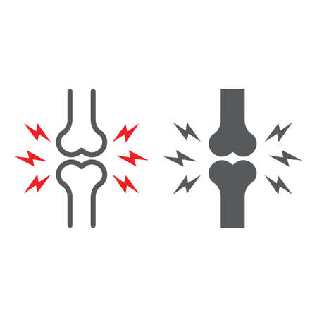 Bone pain line and glyph icon, body and painful, joint ache sign, vector graphics, a linear pattern on a white background.