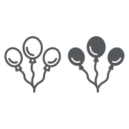 Balloons line and glyph icon, party and decoration, party baloons sign, vector graphics, a linear pattern on a white background.