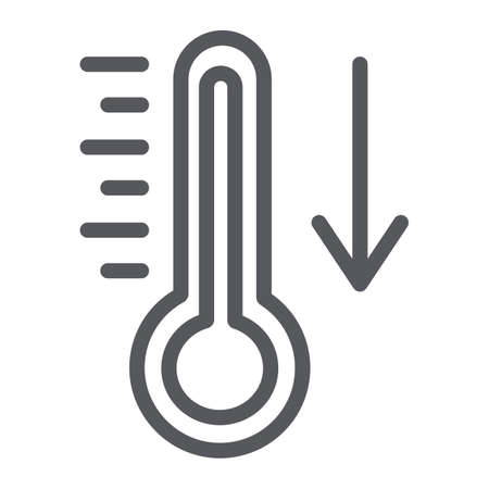 Temperature falling line icon, thermometer and forecast, cold temperature sign, vector graphics, a linear pattern on a white background.