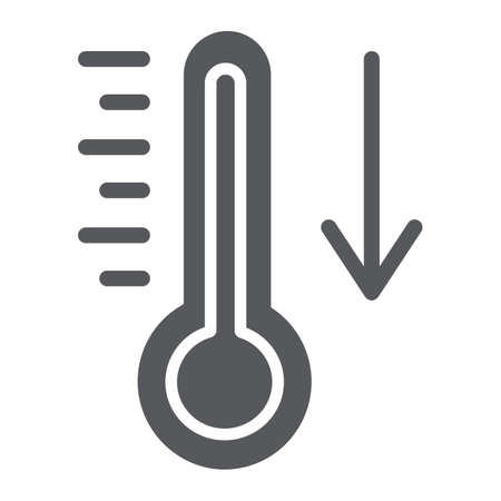Temperature falling glyph icon, thermometer and forecast, cold temperature sign, vector graphics, a solid pattern on a white background. Иллюстрация