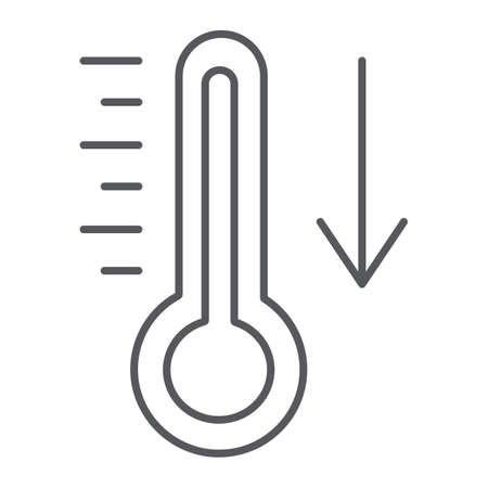 Temperature falling thin line icon, thermometer and forecast, cold temperature sign, vector graphics, a linear pattern on a white background.