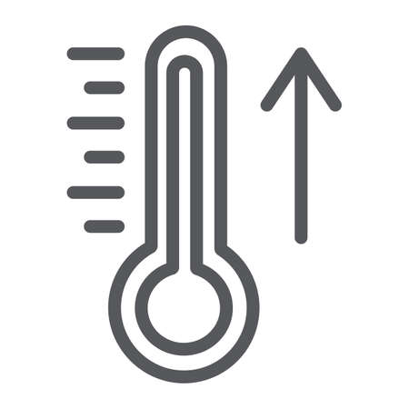 Raising the temperature line icon, weather and climate, thermometer sign, vector graphics, a linear pattern on a white background.