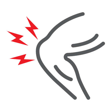 Knee pain line icon, body and sick, leg ache sign, vector graphics, a linear pattern on a white background.