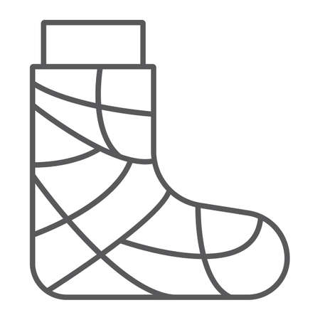 Gypsum thin line icon, trauma and injury, feet bandage sign, vector graphics, a linear pattern on a white background.