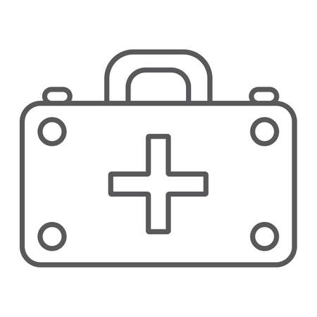 First aid kit thin line icon, medicine and emergency, medical box sign, vector graphics, a linear pattern on a white background.