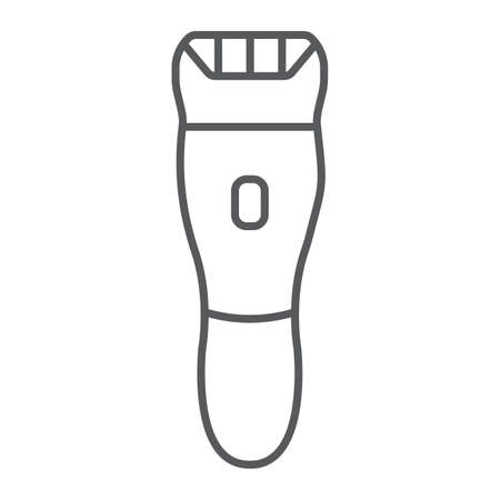 Electric shaver thin line icon, barber and hairstyle, hairclipper sign, vector graphics, a linear pattern on a white background.