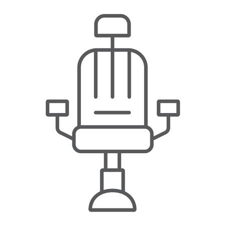 Barber chair thin line icon, barber and interior, arm chair sign, vector graphics, a linear pattern on a white background. Иллюстрация