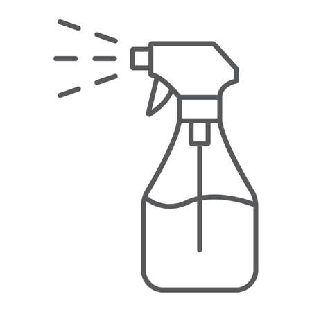 Foggy spray thin line icon, liquid and fluid, spray bottle sign, vector graphics, a linear pattern on a white background. Illustration
