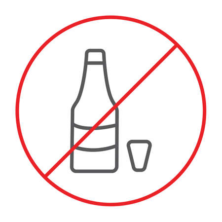 No alcohol thin line icon, prohibited and ban, no drink sign, vector graphics, a linear pattern on a white background.