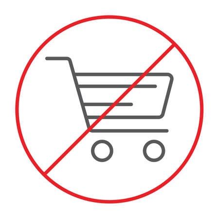 No shopping cart thin line icon, prohibited and forbidden, no shopping trolley sign, vector graphics, a linear pattern on a white background. Vektoros illusztráció