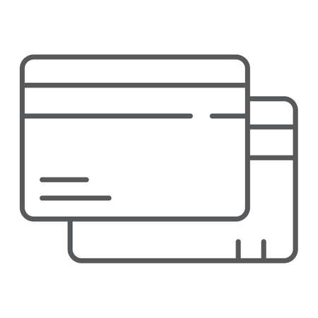 Credit card thin line icon, finance and pay, plastic card sign, vector graphics, a linear pattern on a white background.
